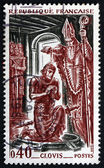 Postage stamp France 1966 Baptism of Clovis, 496 A.D. — Stock Photo