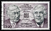 Postage stamp France 1988 Adenauer and De Gaulle, Presidents — Stock Photo