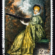 Postage stamp France 1973 Lady Playing Archlute, by Antoine Watt — Stock Photo #30108051