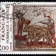 Postage stamp France 1981 Men Leading Cattle, Roman Mosaic — Stock Photo