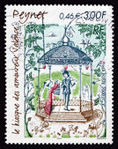 Postage stamp France 2000 The Lovers' Kiosk, by Raymond Peynet — Stock Photo