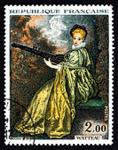 Postage stamp France 1973 Lady Playing Archlute, by Antoine Watt — Stock Photo