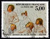 Sello de franqueo juramento francia 1989 de la cancha de tenis, por david — Foto de Stock