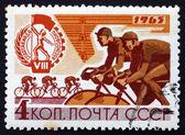 Poštovní známka rusko 1965 cyklistický závod — Stock fotografie