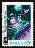 Postage stamp Russia 1967 Space Station Orbiting Moon — Stock Photo