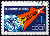 Cosmonautas rússia 1962 de selo postal em capacetes de espaço — Foto Stock