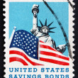 Postage stamp USA 1966 Statue of Liberty and Old Glory — Stock Photo