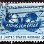 Постер, плакат: Postage stamp USA 1955 Atoms for Peace Policy