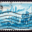 Postage stamp USA 1951 Detroit Skyline and Cadillac Landing — Stock Photo