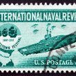 Stock Photo: Postage stamp USA 1957 Aircraft Carrier and Jamestown Festival