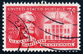 Postage stamp USA 1957 Alexander Hamilton and Federal Hall — Stock Photo