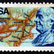 Postage stamp USA 1976 Franklin and Map of North America — Stock Photo