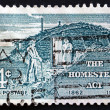 Stock Photo: Postage stamp US1962 Sod Hut and Settlers