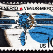 Stok fotoğraf: Postage stamp US1975 Mariner 10, Robotic Space Probe