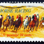 Postage stamp USA 1974 Horses Rounding Turn — Stock Photo #31893445
