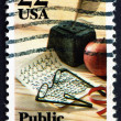 Stock Photo: Postage stamp USA 1982 Quill Pen, Apple, Public Education