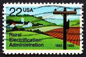 Briefmarke usa 1985 elektrifizierte bauernhof — Stockfoto