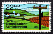 Postage stamp USA 1985 Electrified Farm — ストック写真