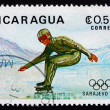 Stock Photo: Postage stamp Nicaragu1983 Speed Skating, 14th Winter Olympics