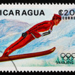 Stock Photo: Postage stamp Nicaragu1983 Ski jumping, 14th Winter Olympics,