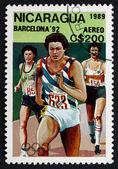 Postage stamp Nicaragua 1989 Running, 1992 Olympics, Barcelona — Stock Photo