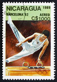Postage stamp Nicaragua 1989 Pommel Horse, Gymnastics, 1992 Olym — Stock Photo