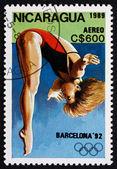 Postage stamp Nicaragua 1989 Diving, 1992 Olympics, Barcelona — Stock Photo