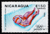 Postage stamp Nicaragua 1983 Luge, 14th Winter Olympics, Sarajev — Stock Photo