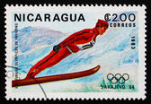 Postage stamp Nicaragua 1983 Ski jumping, 14th Winter Olympics, — Stock Photo