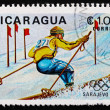 Stock Photo: Postage stamp Nicaragu1983 Skiing, Slalom, 14th Winter Olympic