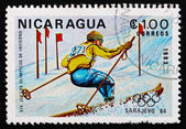 Postage stamp Nicaragua 1983 Skiing, Slalom, 14th Winter Olympic — Stock Photo