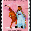 Postage stamp Colombia 1971 Dancers and Music, Currulao — Stock Photo