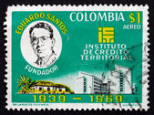 Postage stamp Colombia 1970 Eduardo Santos, Buildings — Stock Photo