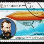 Postage stamp Cuba 1991 Paul Haenlein and Airship — Stock Photo #32608771