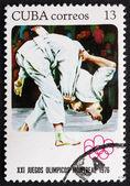 Pocztowych znaczków kuba 1976 judo, igrzyskach olimpijskich, montreal — Zdjęcie stockowe