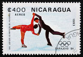 почтовая марка никарагуа 1983 танцы, олимпийские игры, сараджев — Стоковое фото