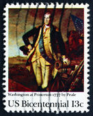 Postage stamp USA 1977 Washington, Nassau Hall, Hessians — Stock Photo