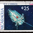 Stock Photo: Postage stamp Nicaragu1987 Satellite Luna, Space Program