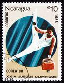 Postage stamp Nicaragua 1988 Gymnastics, 1992 Olympics, Seoul — Stock Photo