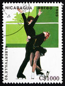 Postage stamp Nicaragua 1989 Pairs Figure Skating, Olympic Games — Stock Photo