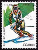 Postage stamp Nicaragua 1989 Slalom Skiing, Olympic Games, Alber — Stock Photo