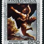 Postage stamp Nicaragua 1984 Madonna of San Girolamo, Detail — Stock Photo #33075131