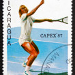 Postage stamp Nicaragua 1987 Female Tennis Player in Action — Stock Photo