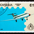 Stock Photo: Postage stamp Nicaragu1986 YAK 40, Airplane