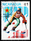 Postage stamp Nicaragua 1983 Slalom Skiing, 14th Winter Olympics — Stock Photo