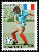 Postage stamp Nicaragua 1986 Soccer Player in Action — Fotografia Stock