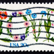 Postage stamp USA 1982 Love, Word from Flowers — Stock fotografie