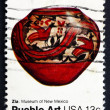 Stock Photo: Postage stamp US1977 Pottery from Zia, New Mexico