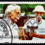 Постер, плакат: Postage stamp Nicaragua 1979 Albert Einstein and Albert Schweitz