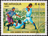 Postage stamp Nicaragua 1985 Evolution of Soccer, 1890 — Stock Photo